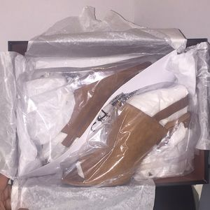 "Coach Shoes - NEW Coach ""Drew"" brown suede w/ leather trim heel"